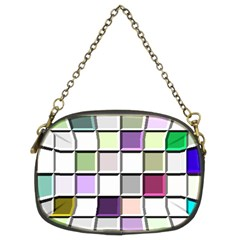 Color Tiles Abstract Mosaic Background Chain Purses (two Sides)  by Simbadda