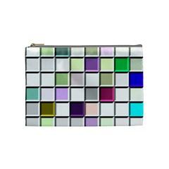 Color Tiles Abstract Mosaic Background Cosmetic Bag (medium)  by Simbadda