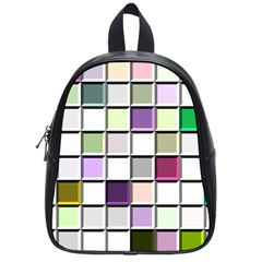 Color Tiles Abstract Mosaic Background School Bags (small)  by Simbadda