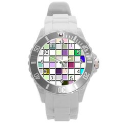 Color Tiles Abstract Mosaic Background Round Plastic Sport Watch (l) by Simbadda