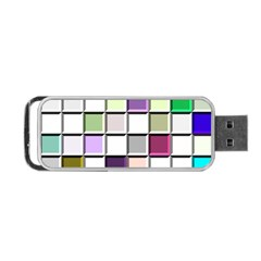Color Tiles Abstract Mosaic Background Portable Usb Flash (two Sides) by Simbadda