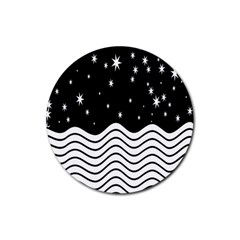 Black And White Waves And Stars Abstract Backdrop Clipart Rubber Round Coaster (4 Pack)  by Simbadda