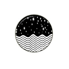 Black And White Waves And Stars Abstract Backdrop Clipart Hat Clip Ball Marker (10 Pack) by Simbadda