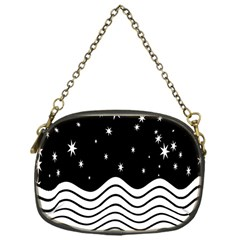 Black And White Waves And Stars Abstract Backdrop Clipart Chain Purses (one Side)  by Simbadda