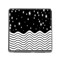Black And White Waves And Stars Abstract Backdrop Clipart Memory Card Reader (square) by Simbadda