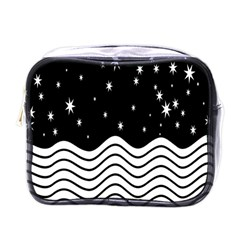 Black And White Waves And Stars Abstract Backdrop Clipart Mini Toiletries Bags by Simbadda