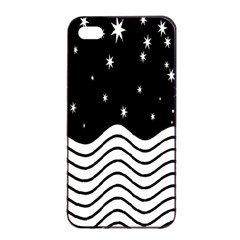 Black And White Waves And Stars Abstract Backdrop Clipart Apple Iphone 4/4s Seamless Case (black) by Simbadda