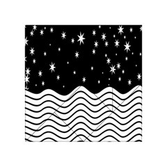 Black And White Waves And Stars Abstract Backdrop Clipart Acrylic Tangram Puzzle (4  X 4 ) by Simbadda