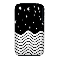 Black And White Waves And Stars Abstract Backdrop Clipart Iphone 3s/3gs by Simbadda