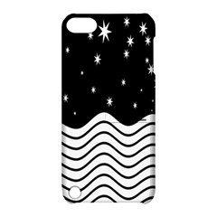 Black And White Waves And Stars Abstract Backdrop Clipart Apple iPod Touch 5 Hardshell Case with Stand