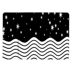 Black And White Waves And Stars Abstract Backdrop Clipart Samsung Galaxy Tab 10 1  P7500 Flip Case by Simbadda