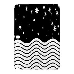 Black And White Waves And Stars Abstract Backdrop Clipart Samsung Galaxy Tab Pro 12 2 Hardshell Case by Simbadda