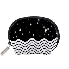 Black And White Waves And Stars Abstract Backdrop Clipart Accessory Pouches (small)  by Simbadda
