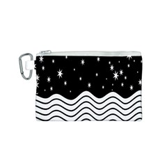 Black And White Waves And Stars Abstract Backdrop Clipart Canvas Cosmetic Bag (s) by Simbadda