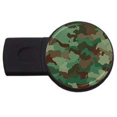 Camouflage Pattern A Completely Seamless Tile Able Background Design Usb Flash Drive Round (2 Gb) by Simbadda