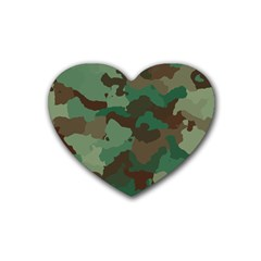 Camouflage Pattern A Completely Seamless Tile Able Background Design Rubber Coaster (heart)  by Simbadda