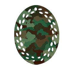 Camouflage Pattern A Completely Seamless Tile Able Background Design Oval Filigree Ornament (two Sides) by Simbadda