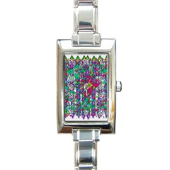 Sunny Roses In Rainy Weather Pop Art Rectangle Italian Charm Watch by pepitasart