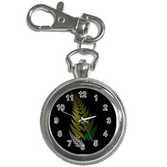 Drawing Of A Fractal Fern On Black Key Chain Watches