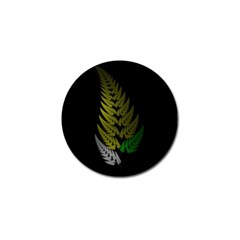 Drawing Of A Fractal Fern On Black Golf Ball Marker by Simbadda