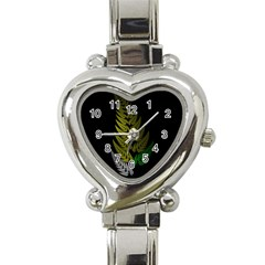 Drawing Of A Fractal Fern On Black Heart Italian Charm Watch by Simbadda