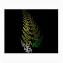 Drawing Of A Fractal Fern On Black Small Glasses Cloth (2 Side) by Simbadda