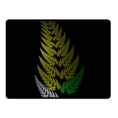 Drawing Of A Fractal Fern On Black Fleece Blanket (small) by Simbadda