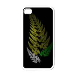 Drawing Of A Fractal Fern On Black Apple Iphone 4 Case (white) by Simbadda