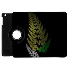 Drawing Of A Fractal Fern On Black Apple Ipad Mini Flip 360 Case by Simbadda