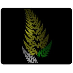 Drawing Of A Fractal Fern On Black Double Sided Fleece Blanket (medium)  by Simbadda