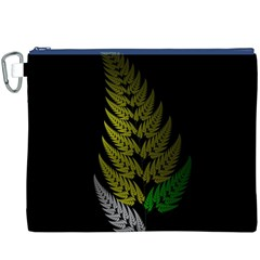 Drawing Of A Fractal Fern On Black Canvas Cosmetic Bag (xxxl) by Simbadda