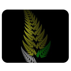 Drawing Of A Fractal Fern On Black Double Sided Flano Blanket (medium)  by Simbadda
