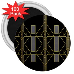 Simple Art Deco Style  3  Magnets (100 Pack)