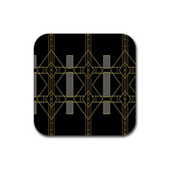 Simple Art Deco Style  Rubber Square Coaster (4 Pack)  by Simbadda