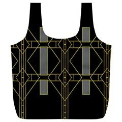 Simple Art Deco Style  Full Print Recycle Bags (l)  by Simbadda