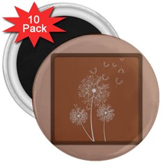 Dandelion Frame Card Template For Scrapbooking 3  Magnets (10 Pack)  by Simbadda