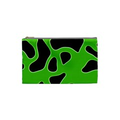 Black Green Abstract Shapes A Completely Seamless Tile Able Background Cosmetic Bag (small)  by Simbadda