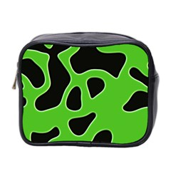 Black Green Abstract Shapes A Completely Seamless Tile Able Background Mini Toiletries Bag 2 Side by Simbadda