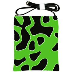 Black Green Abstract Shapes A Completely Seamless Tile Able Background Shoulder Sling Bags by Simbadda