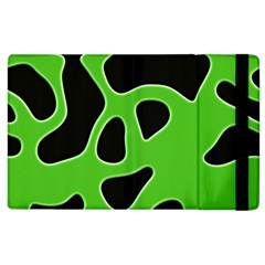 Black Green Abstract Shapes A Completely Seamless Tile Able Background Apple Ipad 3/4 Flip Case by Simbadda
