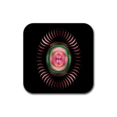 Fractal Plate Like Image In Pink Green And Other Colours Rubber Square Coaster (4 Pack)  by Simbadda