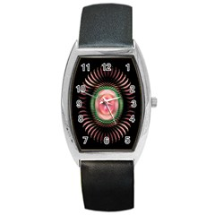 Fractal Plate Like Image In Pink Green And Other Colours Barrel Style Metal Watch by Simbadda