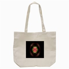 Fractal Plate Like Image In Pink Green And Other Colours Tote Bag (cream) by Simbadda
