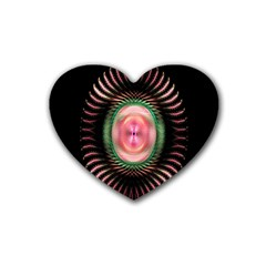 Fractal Plate Like Image In Pink Green And Other Colours Rubber Coaster (heart)  by Simbadda