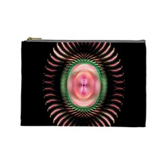 Fractal Plate Like Image In Pink Green And Other Colours Cosmetic Bag (large)  by Simbadda
