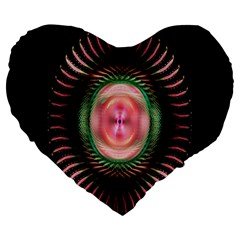 Fractal Plate Like Image In Pink Green And Other Colours Large 19  Premium Heart Shape Cushions by Simbadda