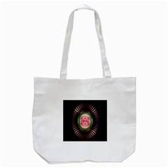 Fractal Plate Like Image In Pink Green And Other Colours Tote Bag (white) by Simbadda
