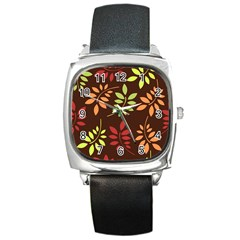 Leaves Wallpaper Pattern Seamless Autumn Colors Leaf Background Square Metal Watch by Simbadda