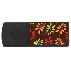 Leaves Wallpaper Pattern Seamless Autumn Colors Leaf Background Usb Flash Drive Rectangular (4 Gb) by Simbadda