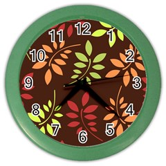 Leaves Wallpaper Pattern Seamless Autumn Colors Leaf Background Color Wall Clocks by Simbadda